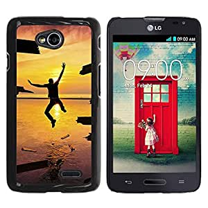 LECELL -- Funda protectora / Cubierta / Piel For LG Optimus L70 / LS620 / D325 / MS323 -- Design Jump Happiness Sunset --