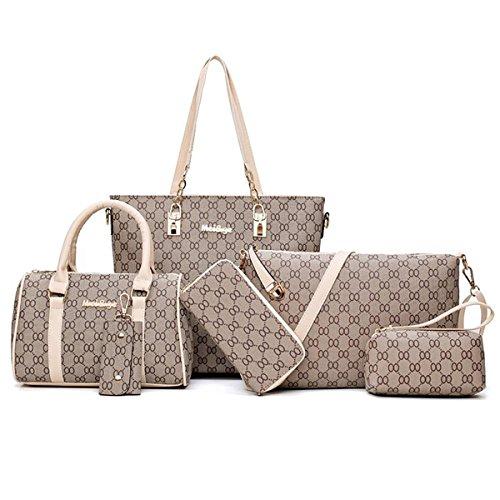 joehye Tote Handbag Womens Shoulder Bag 6 Pack Casual Signature Printing PU Leather (Onesie, 713aprico) (Replica Designer Bags)