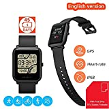 [With Free Screen Protector] Amazfit Bip Smartwatch Huami GPS Real-time Heart Rate Monitor Bluetooth Sports Watch [32g Ultra Light] [IP68 Water-proof] [45-days Standby] English Version (Black)