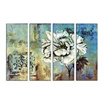 SAF FLOWERS LARGE 4PANEL PAINTING Ink Painting  (24 inch x 36 inch)