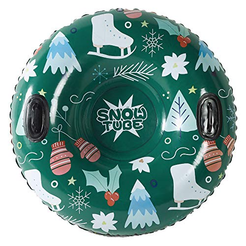 Inflatable Snow Sled for Kids or Adults WateBom Snow Tube with Bulldog Design 48 Inches Heavy Duty Snow Toys with Two Handles and Comfortable Backrest