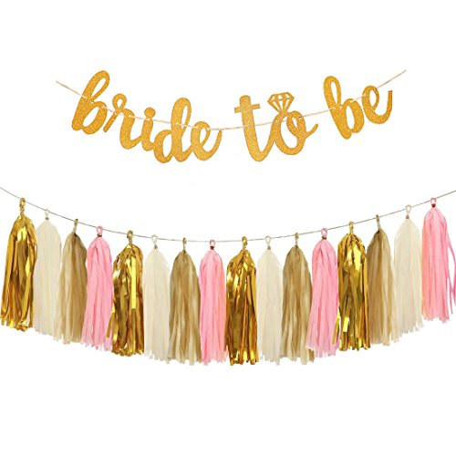 Bride To Be Banner (Bachelorette Party Decorations Supplies - Glitter Letters BRIDE TO BE Banner, Tissue Paper Tassels Garland Set for Engagement Party Bridal Shower)