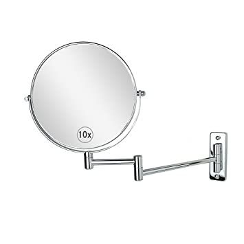 Charmant Wall Mounted Makeup Mirror 8 Inch 10x Magnification Two Sided Swivel Extendable  Bathroom Mirror