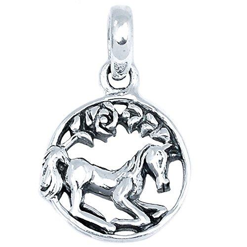 Xtremegems Celtic Horse 925 Sterling Silver Pendant Plain Design Jewelry 3/4 SPJ2011 (Celtic Silver Pendants Sterling Plain)