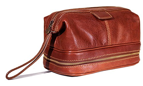 Floto Roma Travel Kit Saddle Brown Leather Dopp Bag by Floto