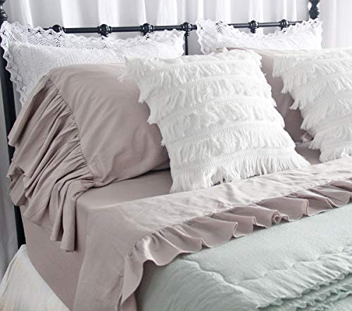 Queen's House Vintage Bedding Set Taupe Bed Sheet Sets 4-Piece King Size-Style D (Style Sets Vintage Bedding)