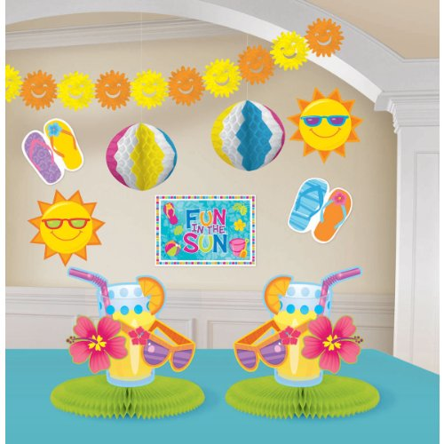 Sign 12' Yellow Beach Decor - Amscan Sun-Sational Summer Luau Fun in The Sun Beach Decorating Kit (10 Piece), Multi Color, 15.5 x 10.6