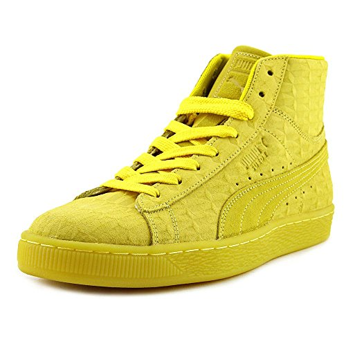 (PUMA Men's Mid Me Iced Suede Buttercup/White Fashion Sneaker - 11M)