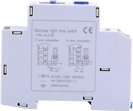 Temporizador para luz de la escalera, AC 220-240 V Mecánico Interruptor de Tiempo Interruptor Interruptor de Tiempo Electrónico Para la Escalera de la Escalera del Hogar: Amazon.es: Bricolaje y herramientas