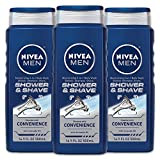 NIVEA Men Shower & Shave 3-in-1 Body Wash - Shower, Shampoo and Shave With Moisture - 16.9 fl. oz Bottle (Pack of 3)