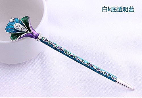 Fashion Hair Decorative Chinese Traditional Style Women Girls Hair Stick Hairpin Hair Making Accessory with Lotus 1pc/package (green)