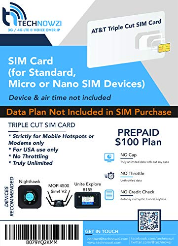 AT&T Unlimited Data Sim - Unlimited LTE Data 1 Month for MiFi/Hotspot/Cradlepoint/Pepwave & Other AT&T Supported Data Devices - Triple Cut sim fits All Data Devices $100/month