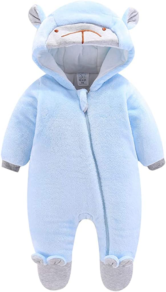 Shan-S Baby Rompers Girls Boys Infant Solid Color Cartoon Bear Ears Thick Warm Jumpsuit Hooded Zipper Coat Clothes Bodysuit Outwear