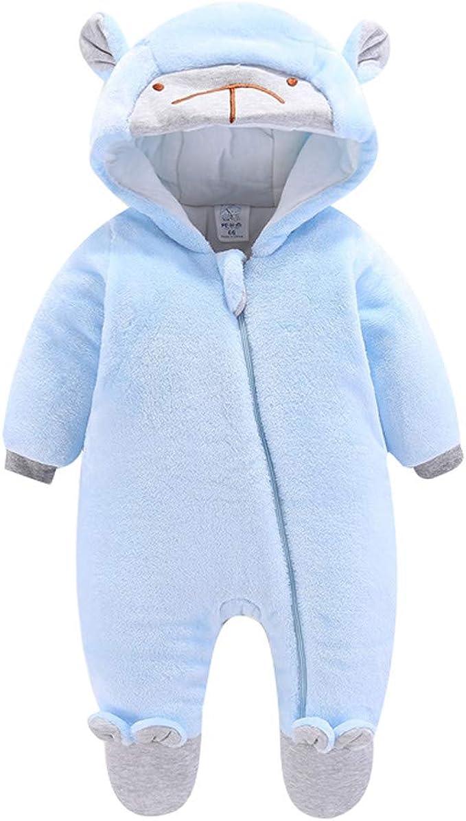 Newborn Baby Winter Thicken Bear Jumpsuit Snowsuit Warm Fleece Hoodie Romper
