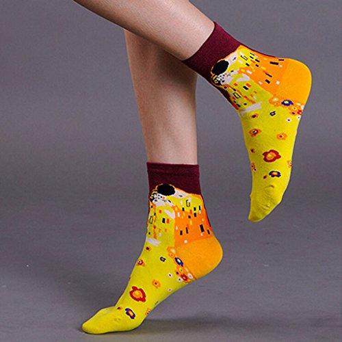 Amazon.com: Jiayiqi Women Famous Mona Lisa Ankle Socks Starry Night Crew Socks 4 Pairs: Clothing
