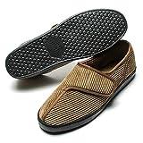 Git-up Men's Diabetic Arthritis Edema Slippers Memory Foam Adjustable W/Shoes Brown