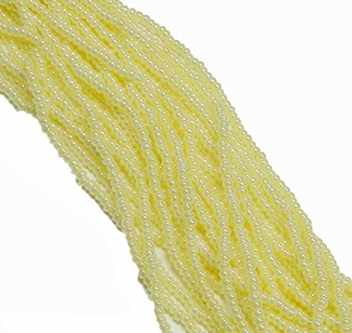 Yellow Pearl Ceylon Transparent Czech 8/0 Glass Seed Beads 1 Full 12 Strand Hank Preciosa (Pearl Czech Seed Bead Hank)