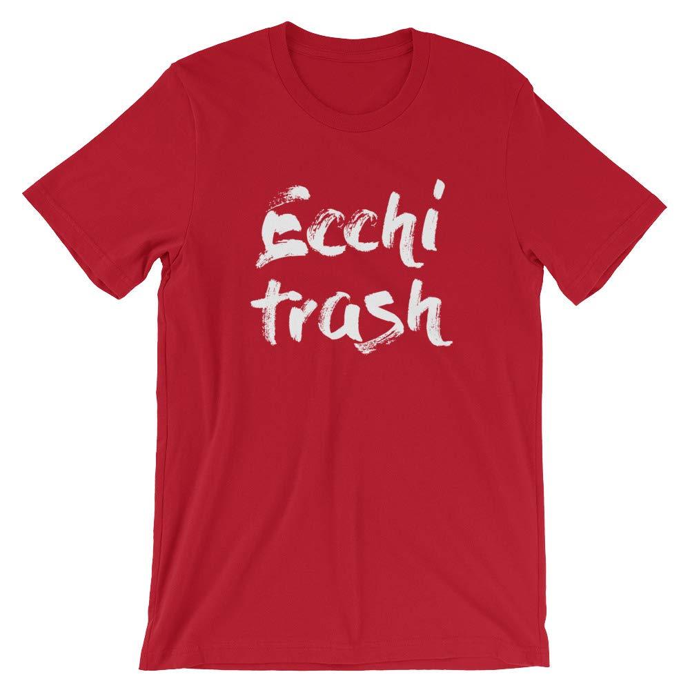 Unisex White Lettering Ecchi Trash Shirt Gift for Otaku Ecchi Lover Funny Kinky Casual Kinkster
