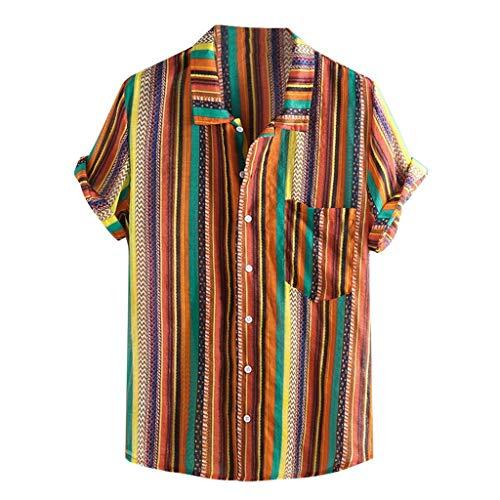 - Rakkiss_Men Shirts Fashion Striped Blouse Casual Lapel Long Sleeve Summer Tops Tee Orange