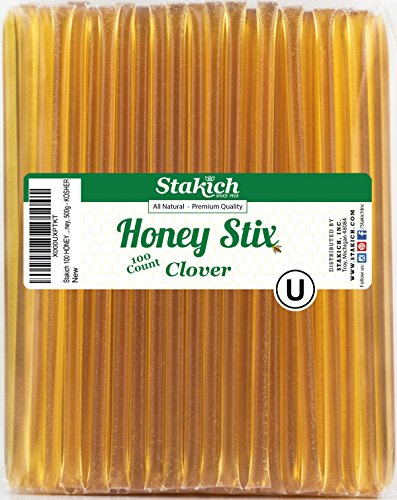 Stakich Honey Stix | 100% Pure, Unfiltered U.S. Grade A Clover Honey, 100 Sticks – Kosher Certified | Perfect for Gifts, Tea, Kids Snacks, Travels and Outdoors