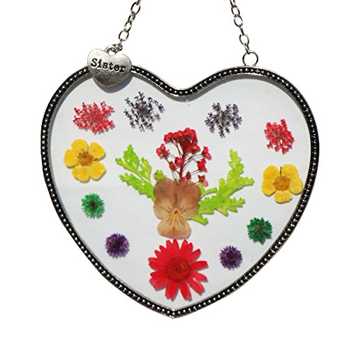 Stained Glass Suncatcher For Windows Sister Heart Sister Suncatcher with Pressed Flower Heart - Heart Suncatcher - Sister Gifts Gift for Sister's Day … (4.754.75) by Tiffany Lamp & Gift Factory