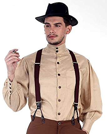 Victorian Men's Shirts- Wingtip, Gambler, Bib, Collarless Steampunk Victorian Costume Seigneur Shirt $49.50 AT vintagedancer.com