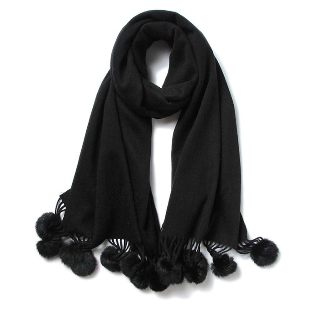 Black Wool Scarf Women Pure color Hanging Ball Warm Shawl Winter Scarves Shawl (color   Red)