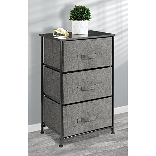 mDesign Vertical Dresser Storage Tower - Sturdy Steel Frame, Wood Top, Easy Pull Fabric Bins - Organizer Unit for Bedroom, Hallway, Entryway, Closets - Textured Print - 3 Drawers, Charcoal Gray/Black (Small Dresser Drawer)