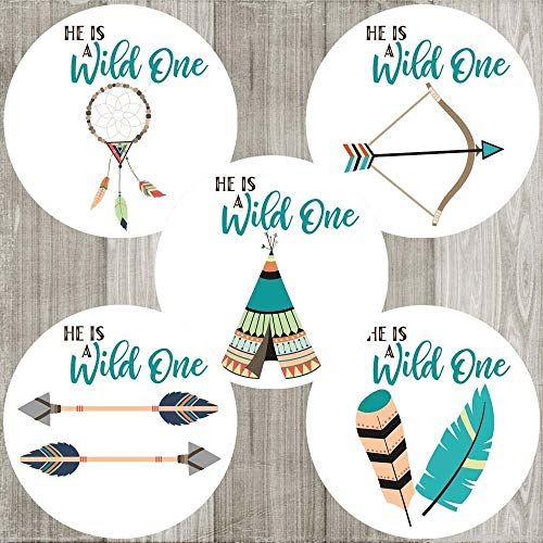 He is a Wild One Sticker Labels - Tribal Boho Boy Birthday Baby Shower Party Favors - Set of 50 (Blue And Brown Baby Shower Invitations)