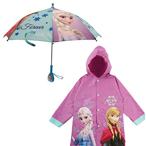 Disney Little Girls' Frozen Princess Elsa and Rain Slicker and Matching Umbrella with Rainwear Set, Purple Frozen, Age 4-5