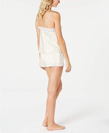 Linea Donatella Pink 2-Piece Satin Lace Trimmed Cami /& Shorts Pajama Set Large