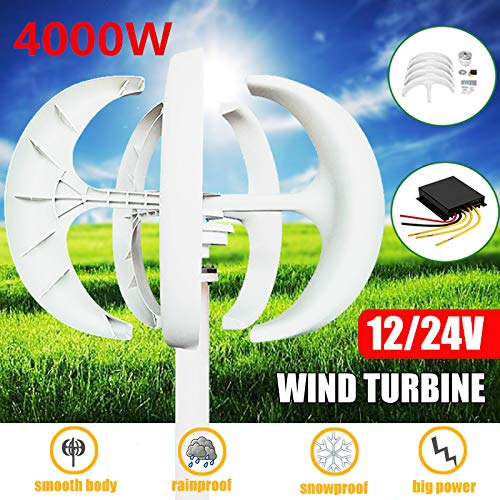 TQ Wind Turbines,4000W White Wind Turbines Generator+Controller 12V24V 5 Blades Lantern Vertical Axises for Residential Household Streetlight,24v