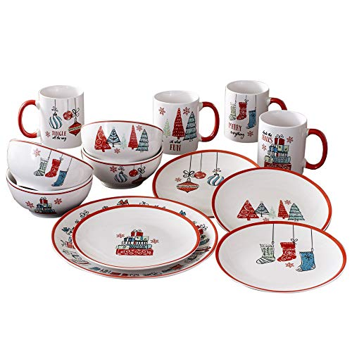 American Atelier 7163-16-RB Holiday Christmas Round Dinnerware Set - 16-Piece Stoneware Party Collection w/ 4 Dinner Salad Plates, 4 Bowls & 4 Mugs - Unique Gift Idea, 10.5