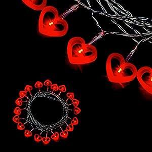 Guirnalda pilas 2,85 m, 20 led, diseño de corazones, color rojo y plateado