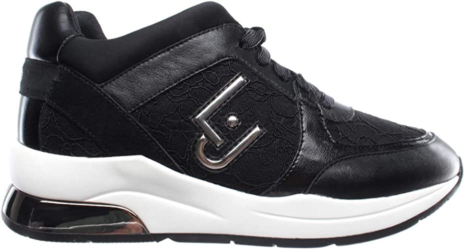 Scarpe Donna Sneakers Liu Jo Karlie 05 Lace Up Lycra Black Nere Nuove New