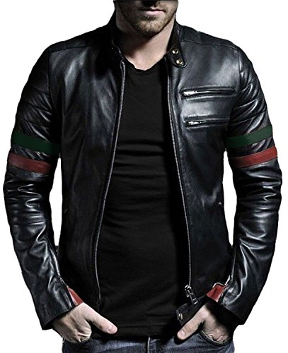 Laverapelle Men's Genuine Lambskin Leather Jacket (Black-Green-Maroon, Medium, Polyester Lining) - 1501535 ()