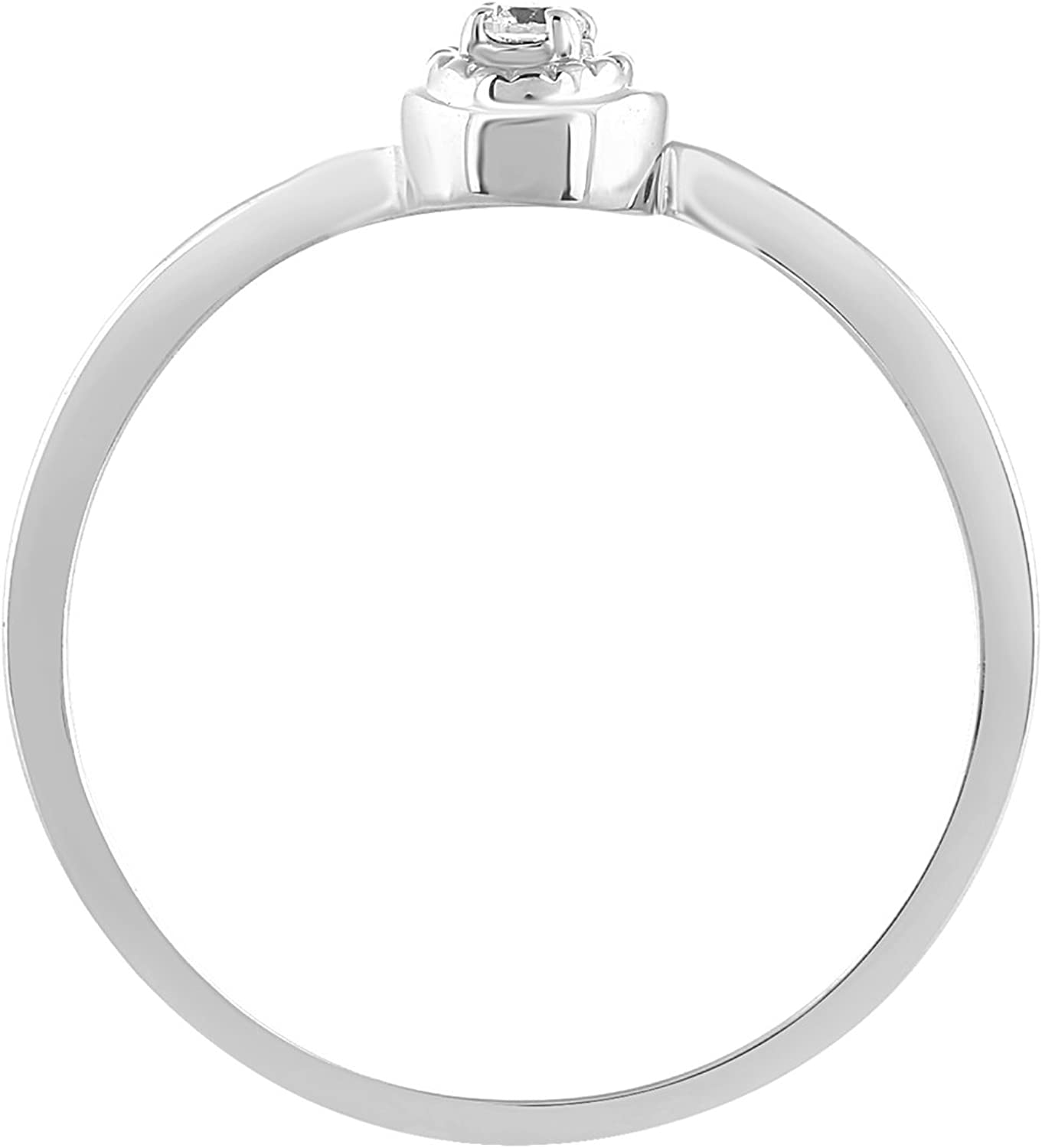 CARATS FOR YOU 14K Solid Gold 0.06ct Genuine Real Round Cut Natural Diamond Ring For Women