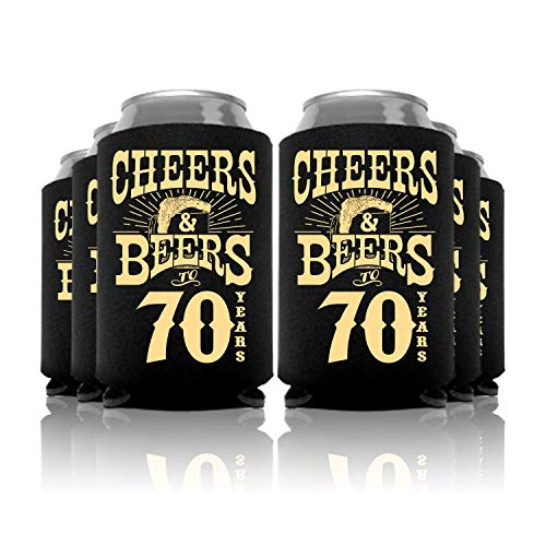 Cheers and Beers to 70 Years Birthday Can Coolers Party Favor 12 Pc -