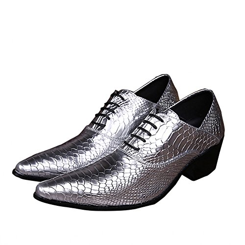 Men's Leather Loafers Lace Up Pointed Toe Wedding Dress Wingtip Oxford Shoes (US 10) by Jinfu