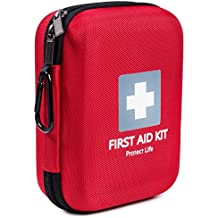 First Aid Kit - 150 piece - for Car, Home, Travel, Sports, Camping, Hiking or Office | Red case w/ reflective cross fully packed with emergency supplies