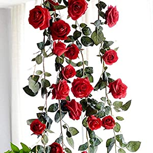 Artificial Silk Red Rose Flower Ivy Vine Fake Hanging Plant Leaves Garland for Wedding Party Garden Wall Valentine Decoration 13