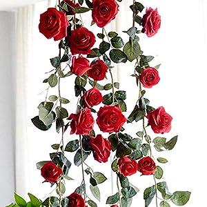 Artificial Silk Red Rose Flower Ivy Vine Fake Hanging Plant Leaves Garland Wedding Party Garden Wall Valentine Decoration 17
