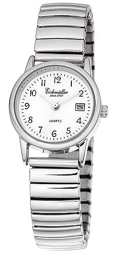 Eichmüller - Reloj de Pulsera analógico para Mujer Reloj de Acero Inoxidable Fecha Cordón Plateado: Amazon.es: Relojes
