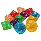 Dices - SODIAL(R)10-Dices D10 Ten Sided Gem Dice Die for RPG Dungeons&Dragons Board Table Games Transparent Multicolor