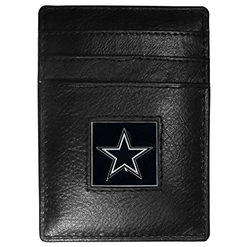 Siskiyou NFL Dallas Cowboys Leather Money Clip/Cardholder Packaged in Gift Box, Black ()