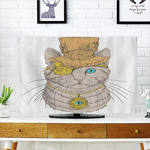 L-QN tv Protective Cover Cute Punk Pirate Cat with Eye Collar Gothic Medieval Kitty Vintage tv Protective Cover W32 x H51 INCH/TV 55