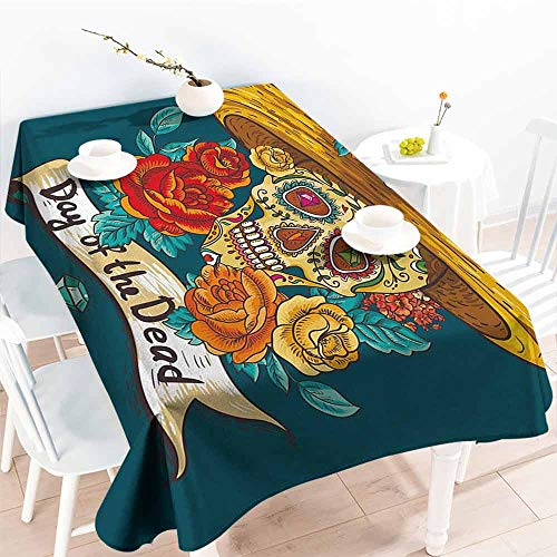 DILITECK Elegance Engineered Tablecloth Day of The Dead Mexican Festive Hat Skull with Roses Art Print Table Decoration W60 xL84 Petrol Blue Turquoise Orange ()