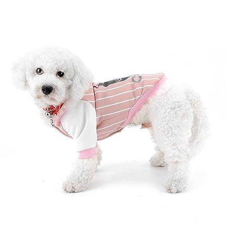 ZUNEA Sudaderas para Perros, Camisetas de Perros de Béisbol Perrito Sudadera Raya Deportes Mascotas Ropa