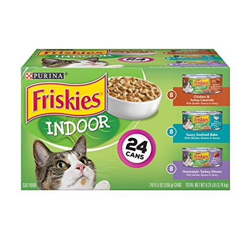Purina Friskies Indoor Wet Cat Food Variety Pack, Indoor - (24) 5.5 oz. Cans (The Best Wet Cat Food For Indoor Cats)