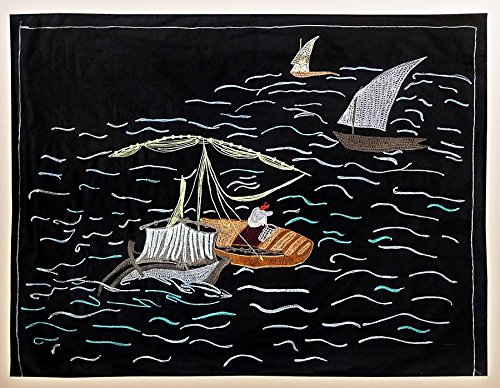 FINE UZBEK SILK EMBROIDERY SUZANI LITTLE BOAT ON BLACK A4411 by UzIkat